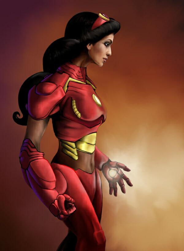 Disney Jasmne as Iron Man