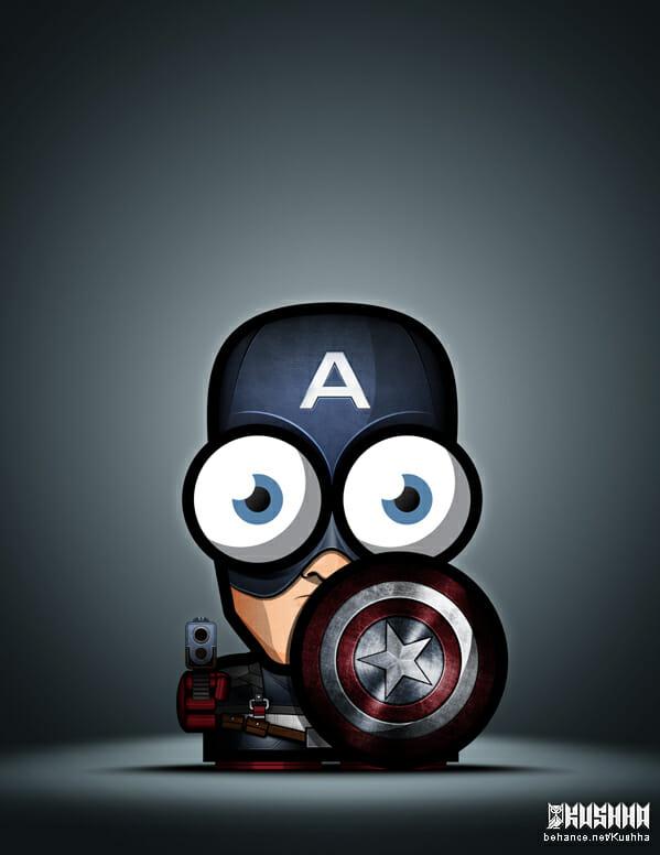 Big-Eyed-Superheroes-Ahmad-Kushha-Captain-America-Avengers