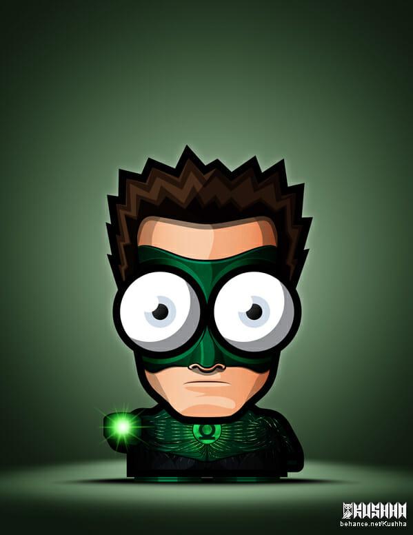 Big-Eyed-Superheroes-Ahmad-Kushha-Green-Lantern-Justice-League