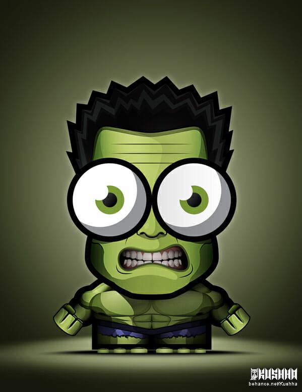 Big-Eyed-Superheroes-Ahmad-Kushha-The-Hulk-Avengers