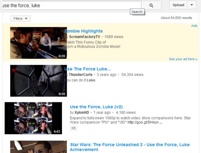 Easter Egg - Geek Week - Use the Force Luke