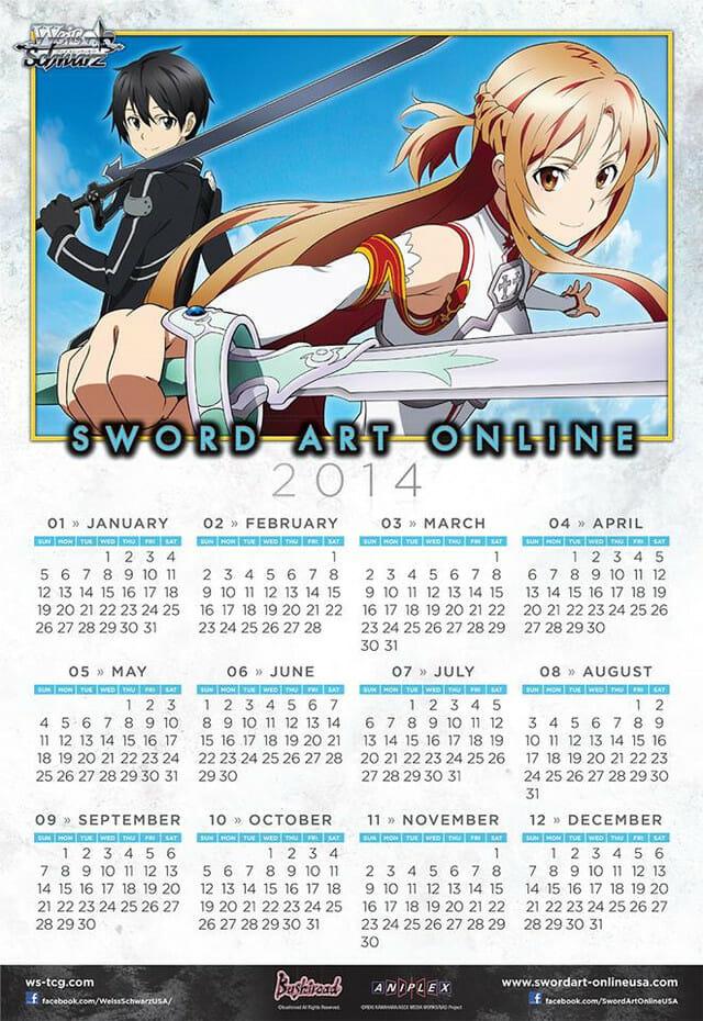 Sword Art Online calendar
