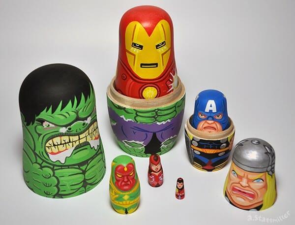Mavel Comics Avengers Nesting Dolls.  Hand Painted by Andy Stattmiller.