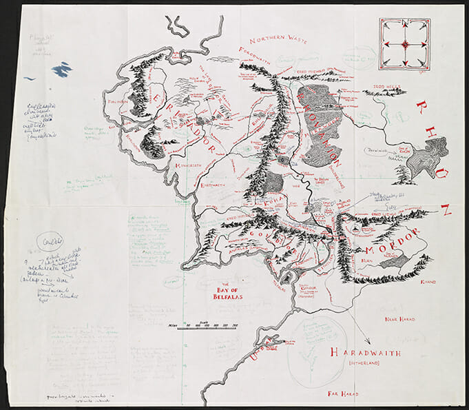 Annotated map of Middle-earth - Credit: © Williams College Oxford Programme & The Tolkien Estate Ltd, 2018