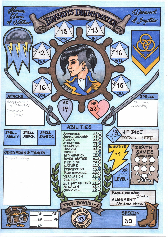 Custom character sheet - human