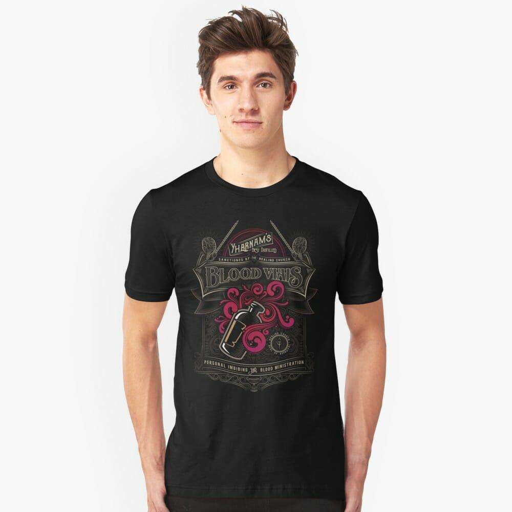 Lovecraft t-shirt: Yharnam's Bllod Vials