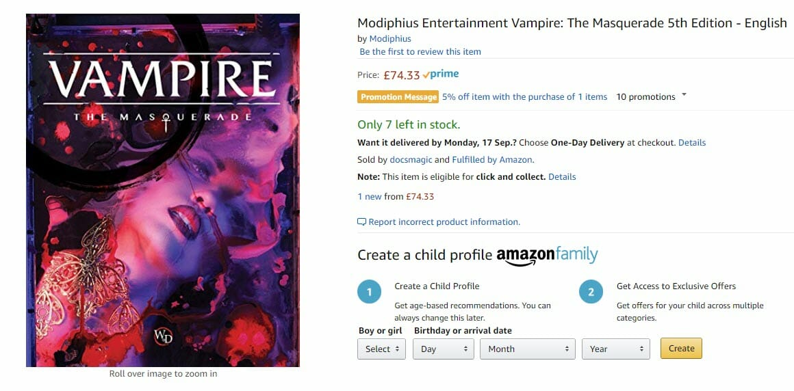 Vampire 5e selling for nearly US$100