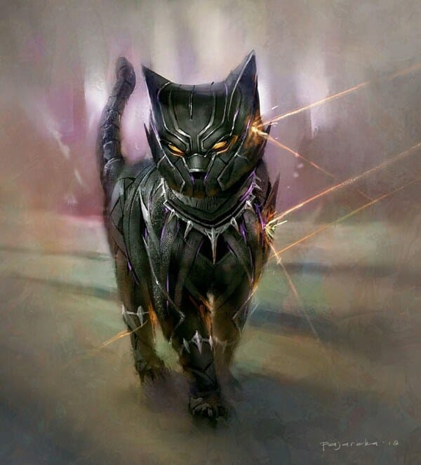 Black Panther as a cat