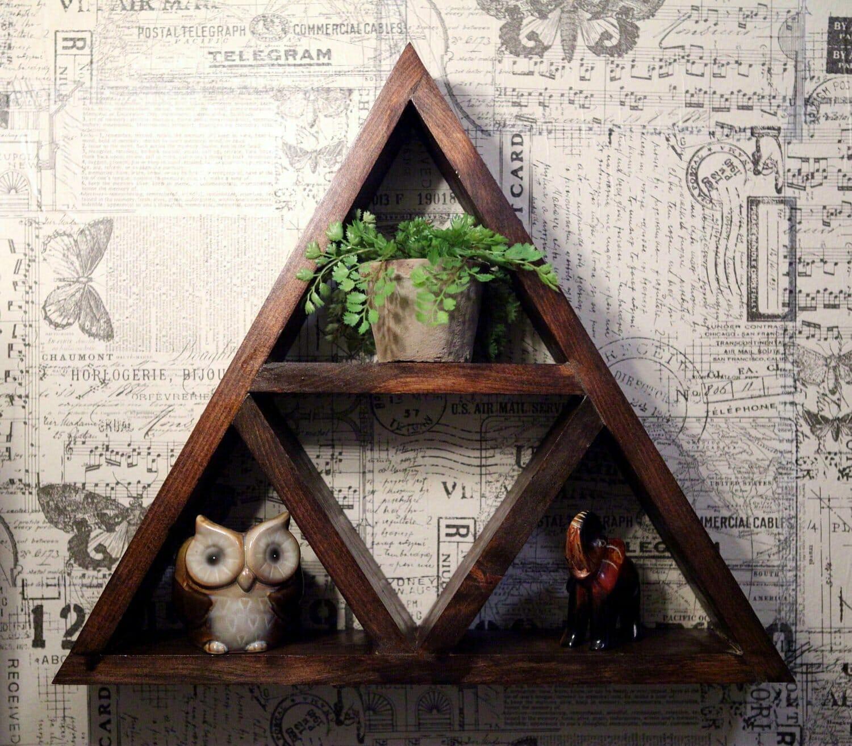 A rustic Zelda Triforce shelf