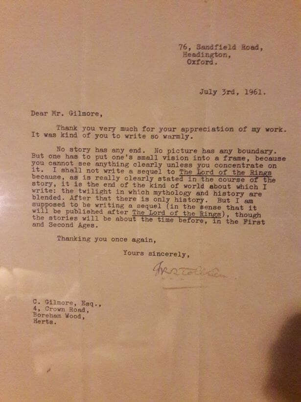 Tolkien's letter about a Lord of the Rings sequel