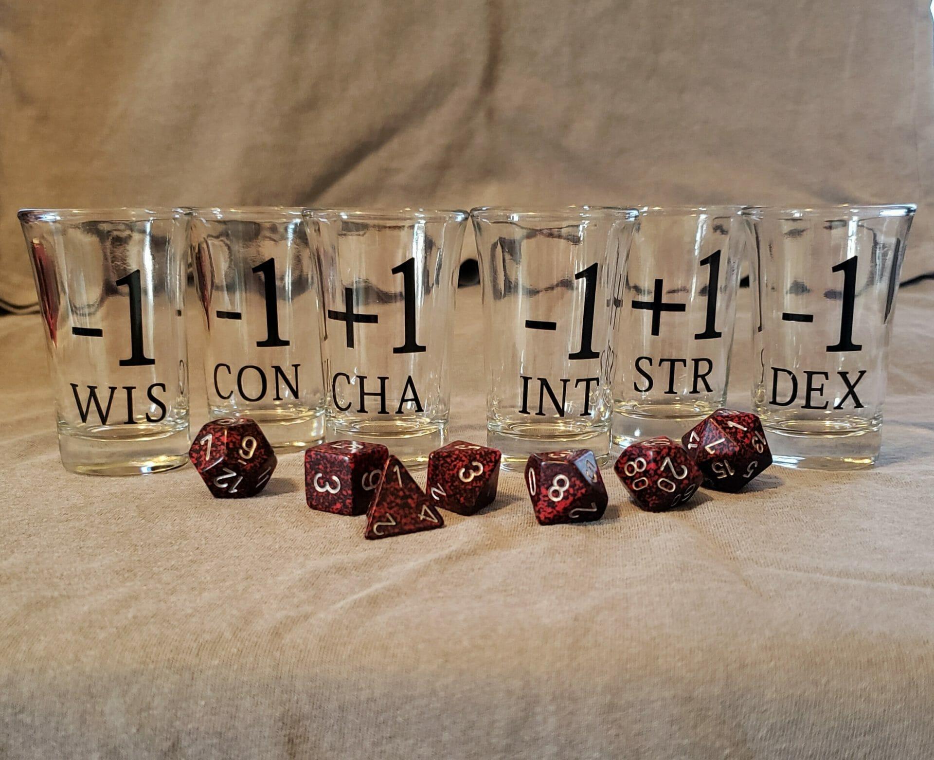 D&D ability score shot glasses
