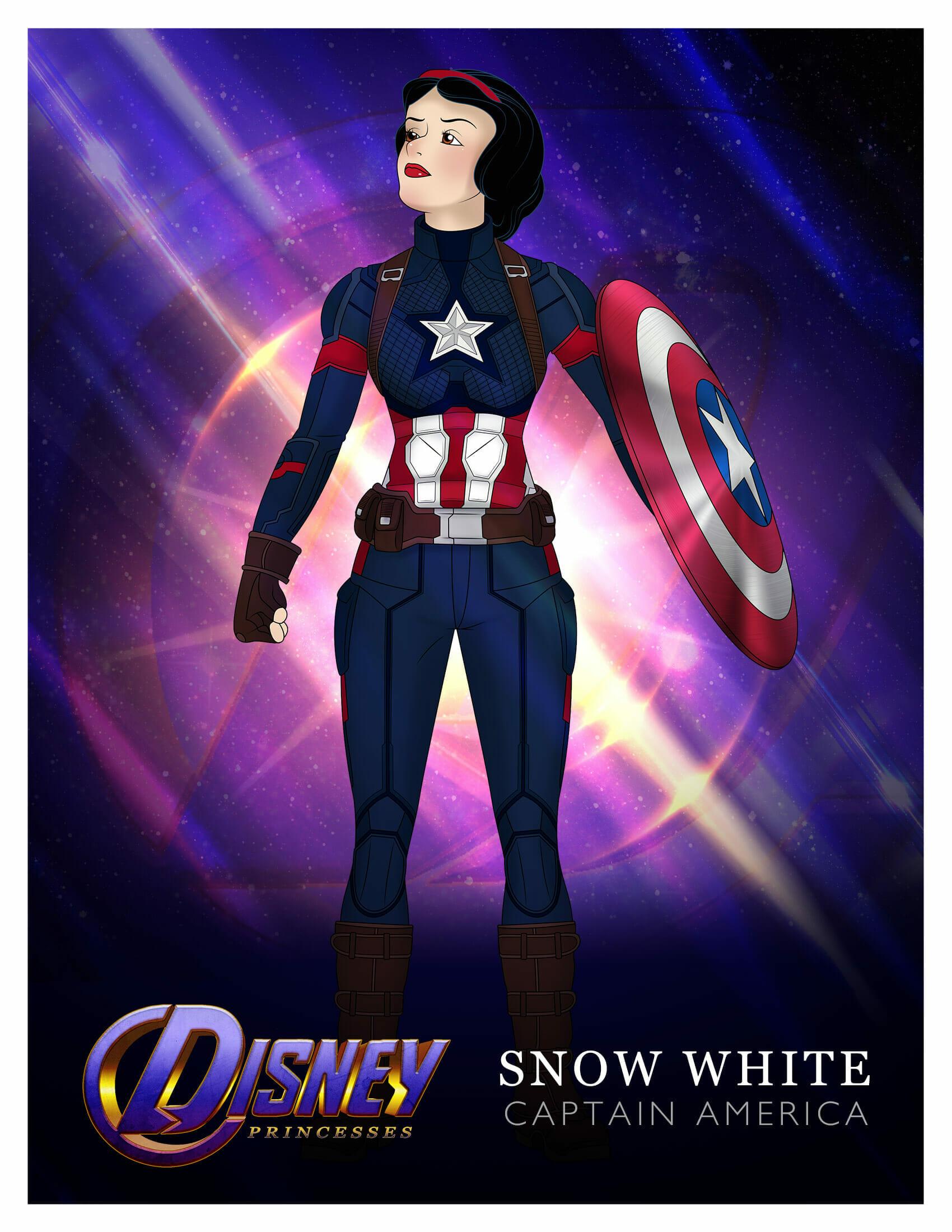 Princess Snow White as Captain America