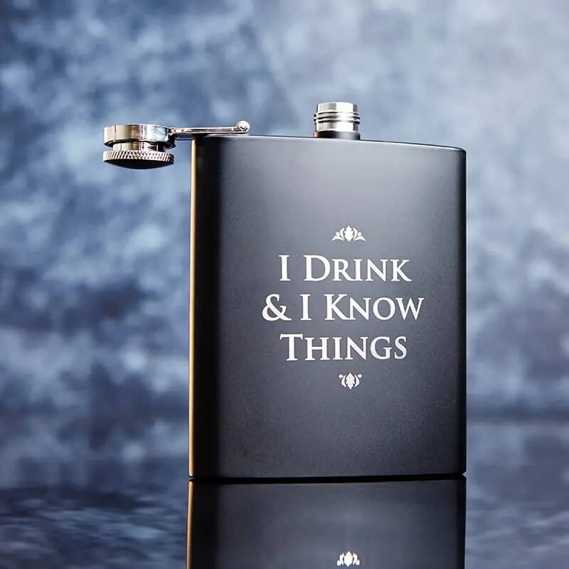 """Game of Thrones """"I drink and I know things"""" hipflask"""