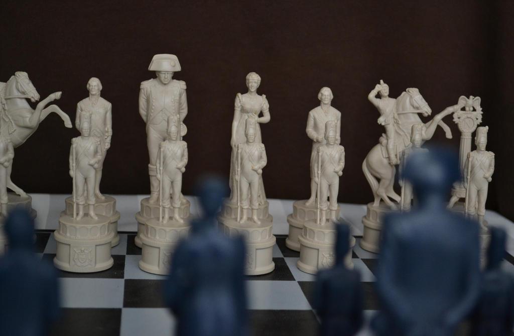 White versus Blue Napoleonic Army chess set.