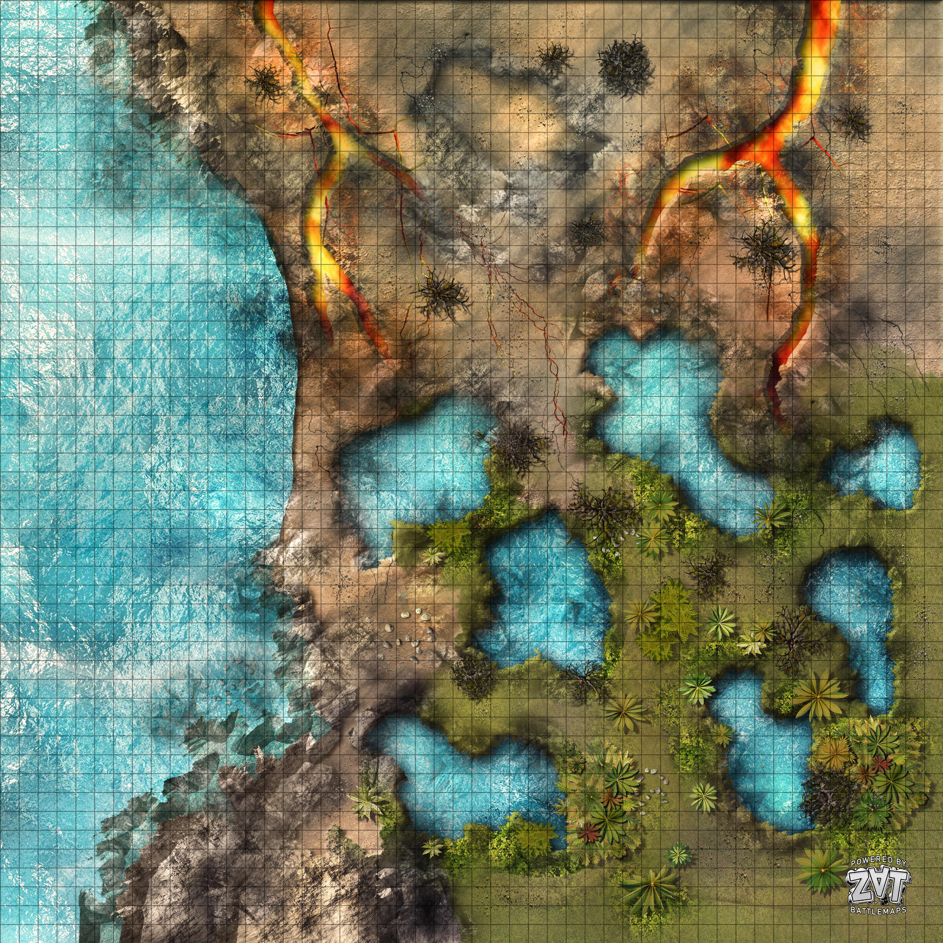 volcanic island RPG battle maps