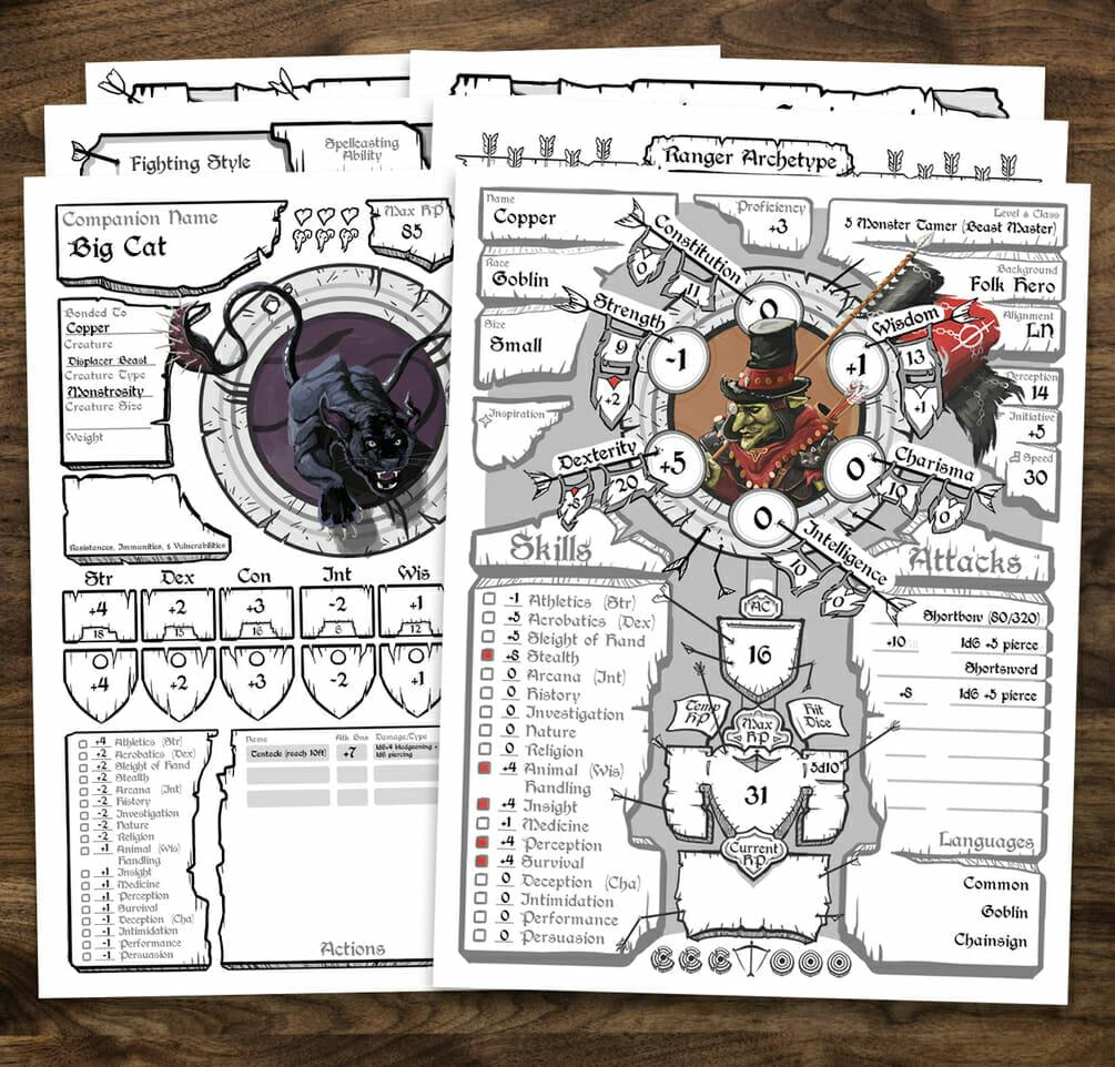 barbarian character sheet brett bullion's stunning d&d e class character sheets