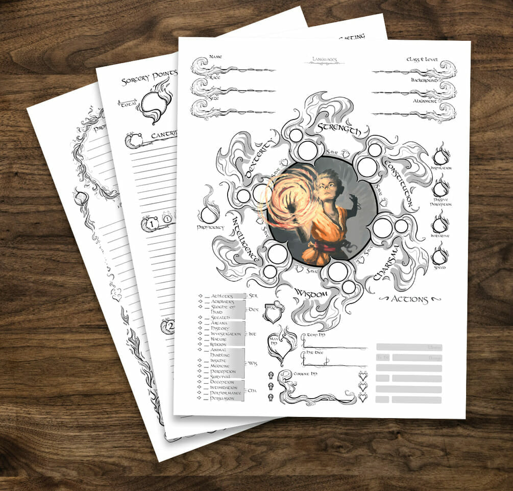 Sorcerer  5e D&D character sheet