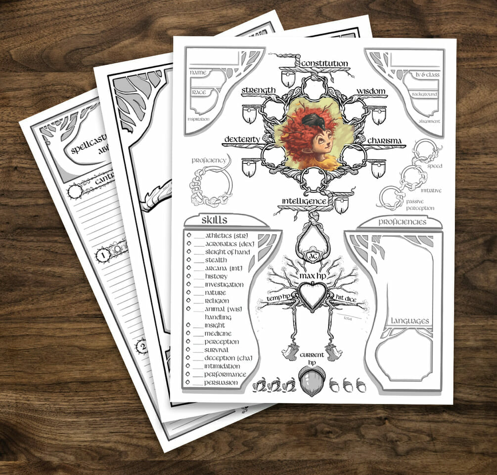 Druid  5e D&D character sheet