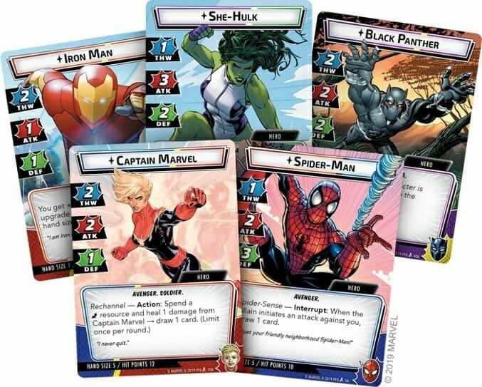 Iron Man, Captain Marvel, Spider-man, Black Panther and She-Hulk
