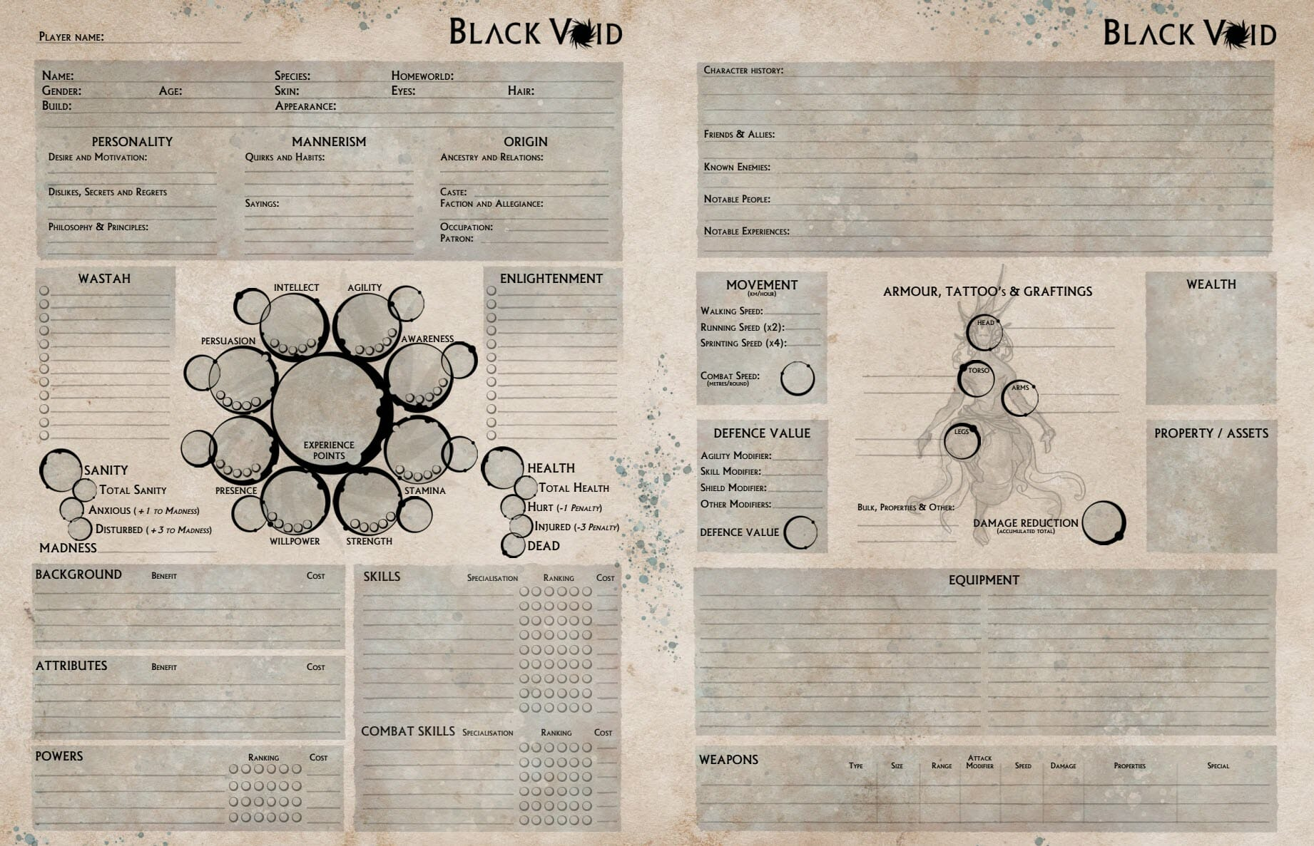 Two-paged Black Void character sheet