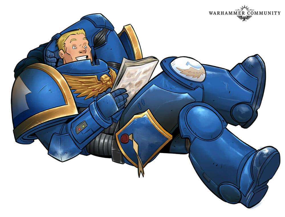 Space Marine reading Marvel
