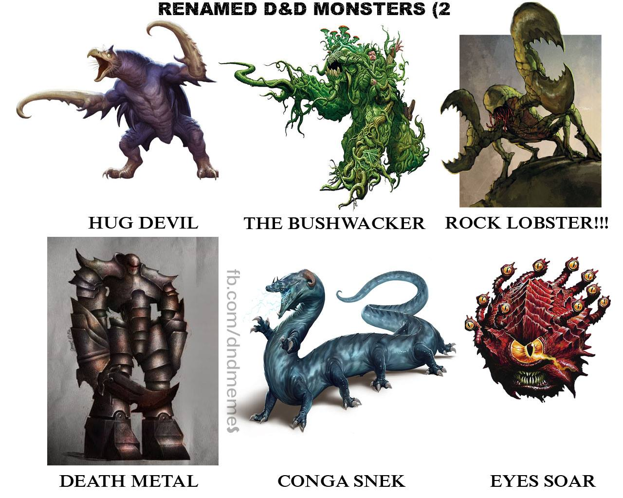 D&D Memes: renamed monsters