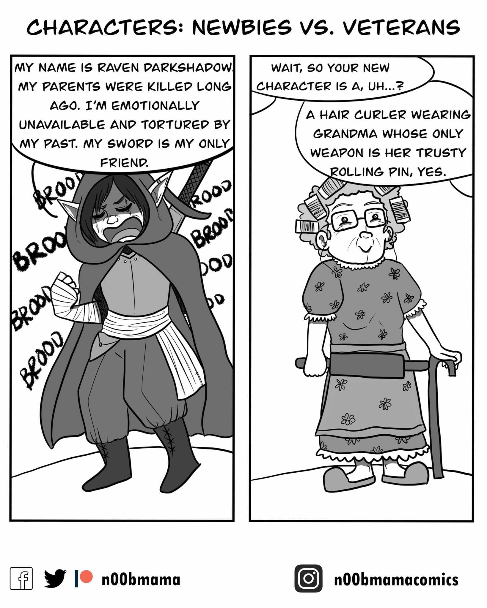 Characters: Newbies vs Veterans