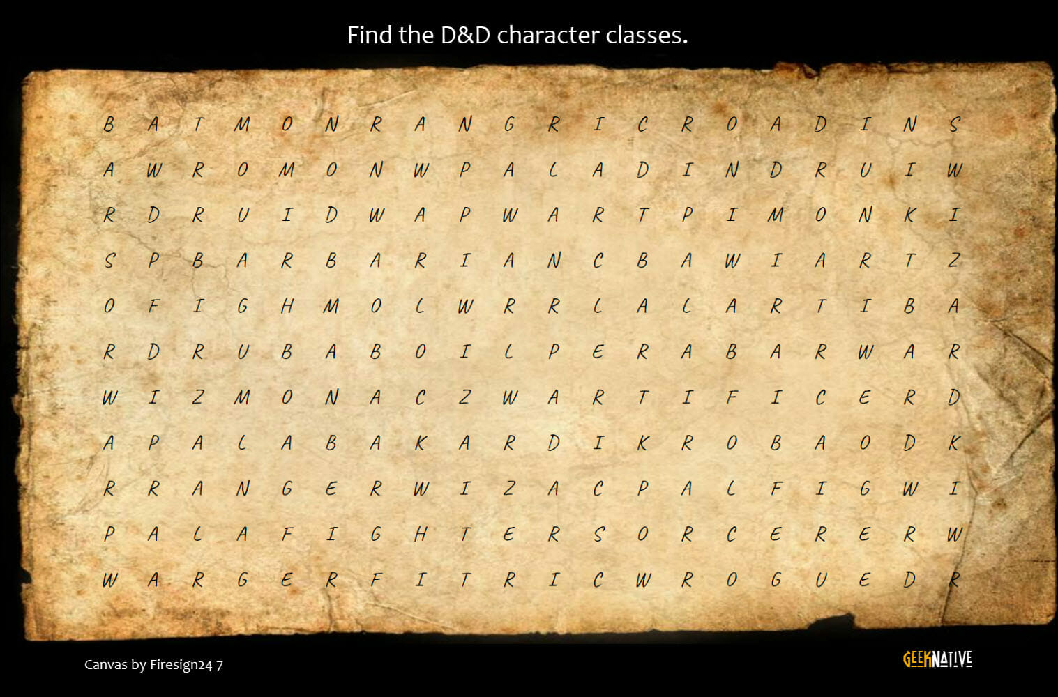 Character class search