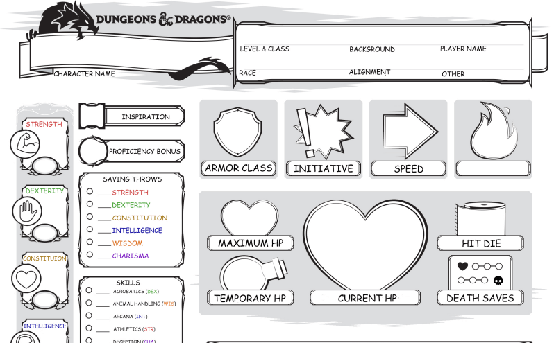 This is a photo of Dungeons and Dragons Character Sheet Printable in custom 5e character