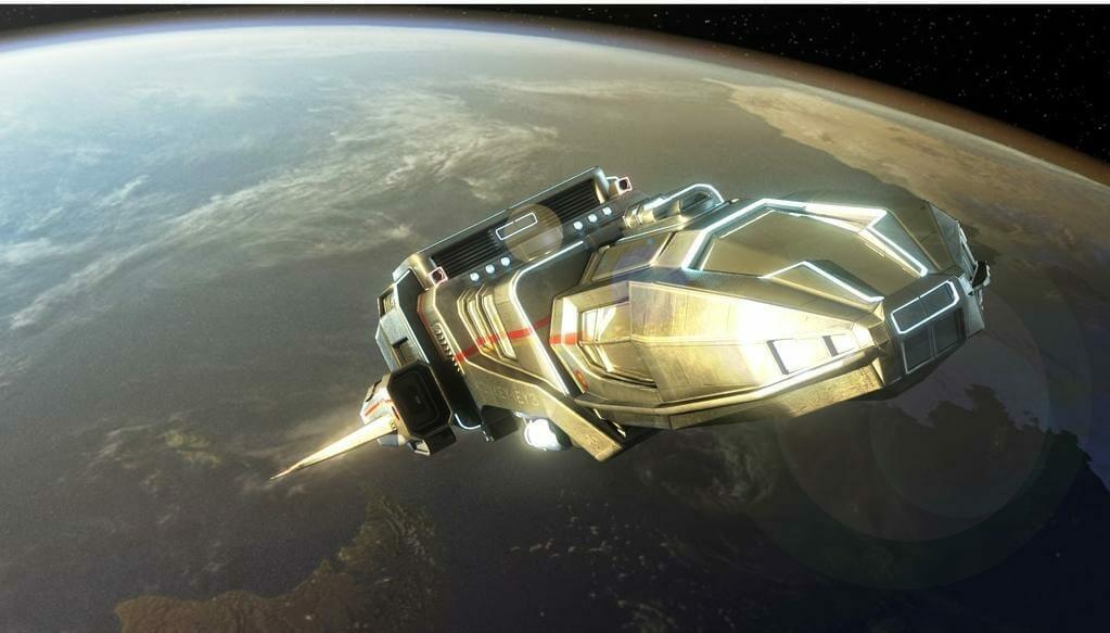 Spaceship leaving Earth orbit by IstakenN