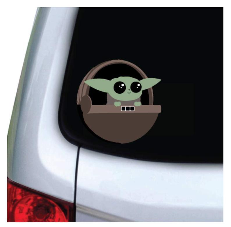 Premium removable vinyl Baby Yoda decal