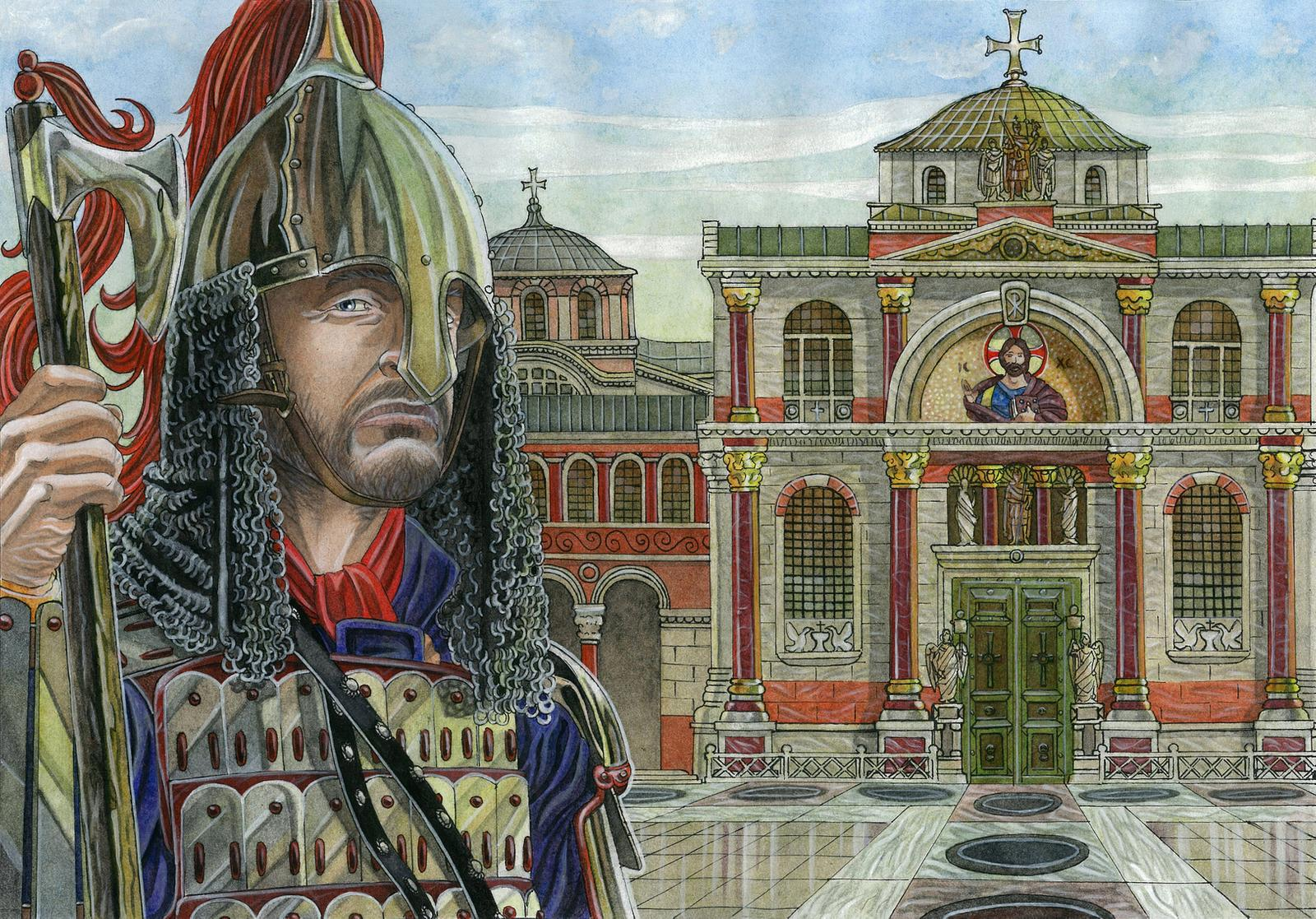 Guarding The Bronze gate of the Great Palace by Amelianvs.