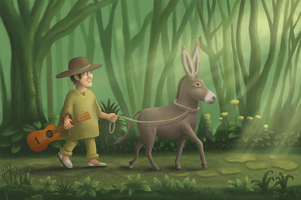 Farmer and donkey