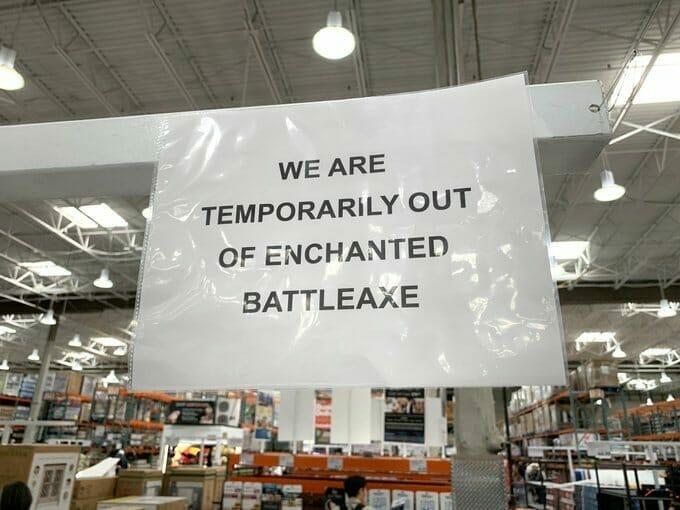 Battle axe prank