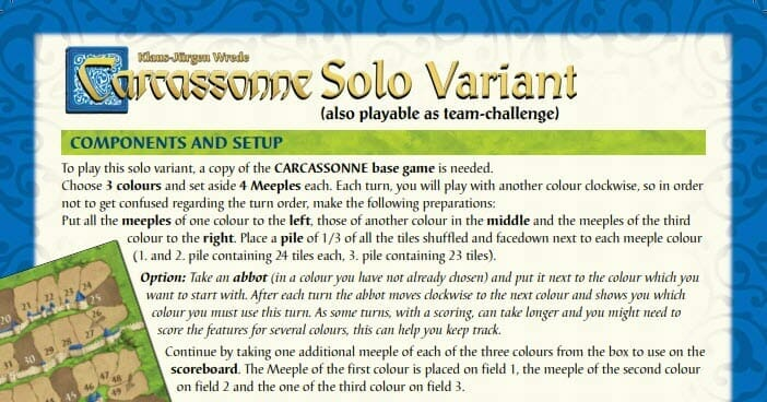 Carcassonne solo play?