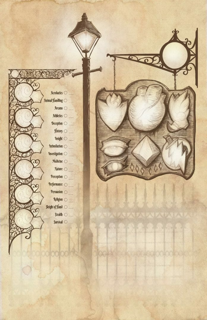 """Tales of Old Orleans"" character sheet"