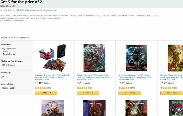 D&D on sale at Amazon