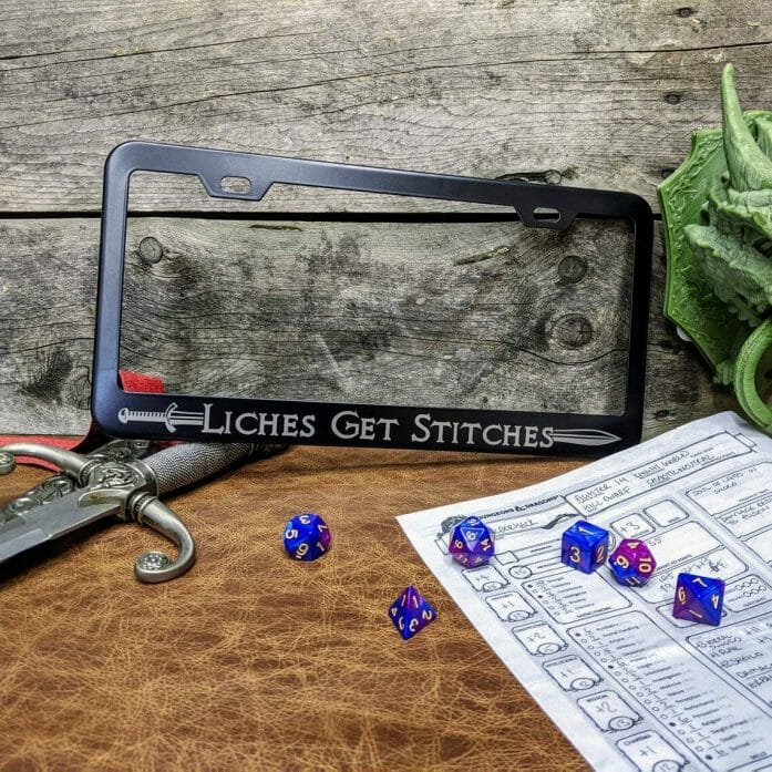 D&D inspired car license plate frame