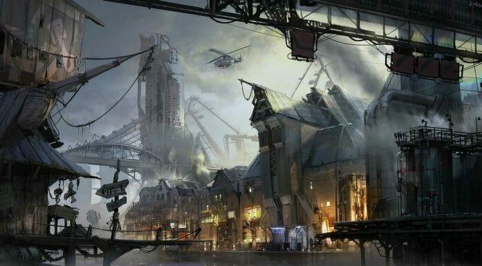 Cyberpunk Port Town by Vincent Lefevre
