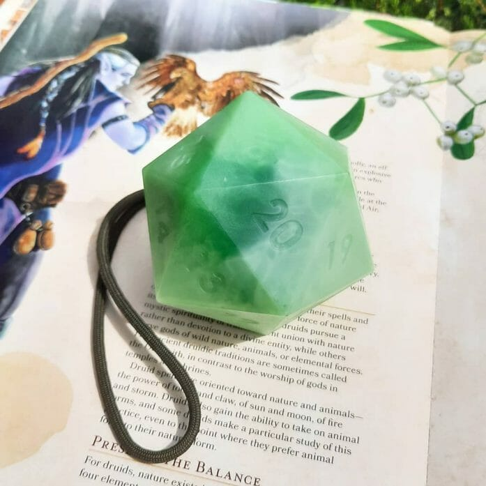 d20 soap on a rope