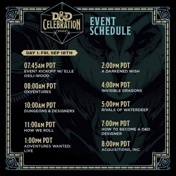 D&D Celebration 2020 schedule Friday