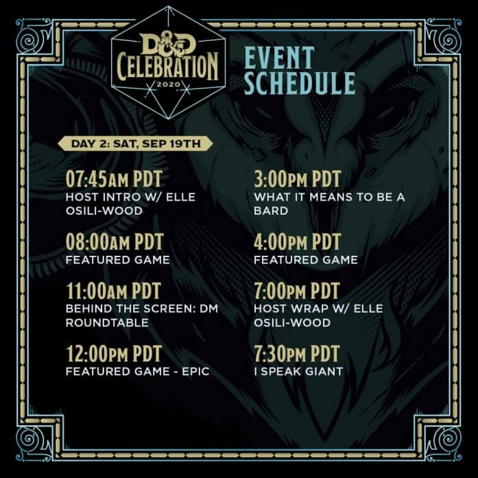 D&D Celebration 2020 schedule Saturday