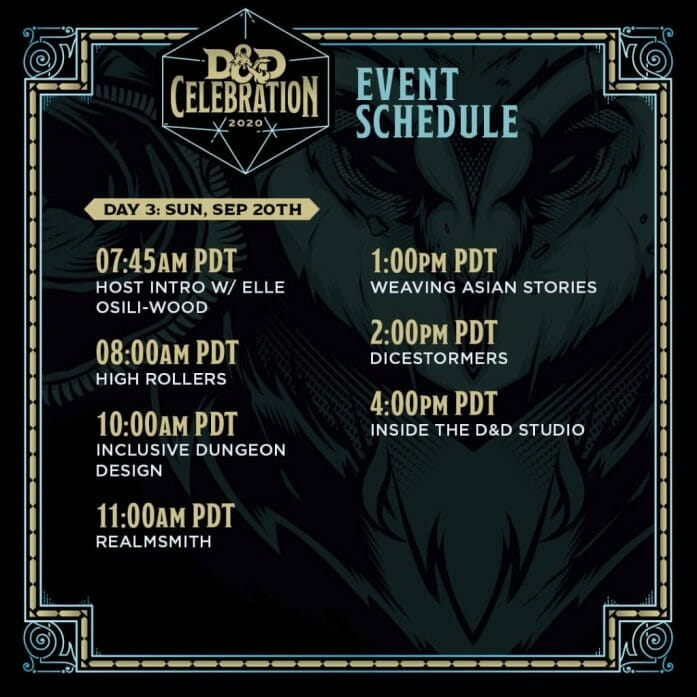 D&D Celebration 2020 schedule Sunday