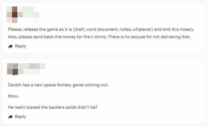Kickstarter comments