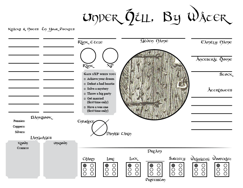 Under Hill, By Water character sheet