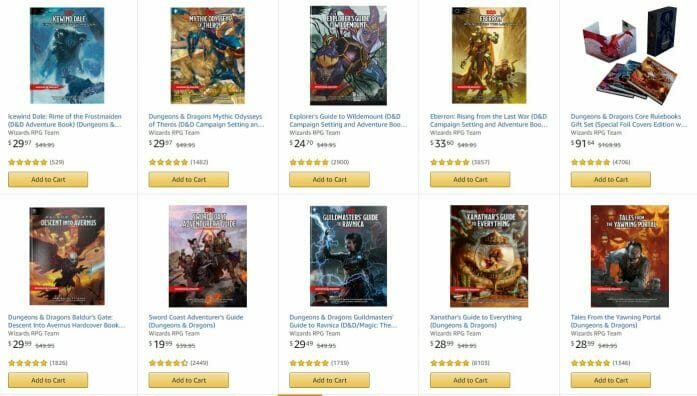 D&D books and RPGs in Amazon Prime Day