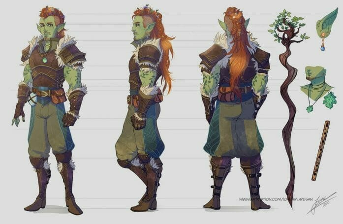 Commissions character sheet half orc by Ioana-Muresan