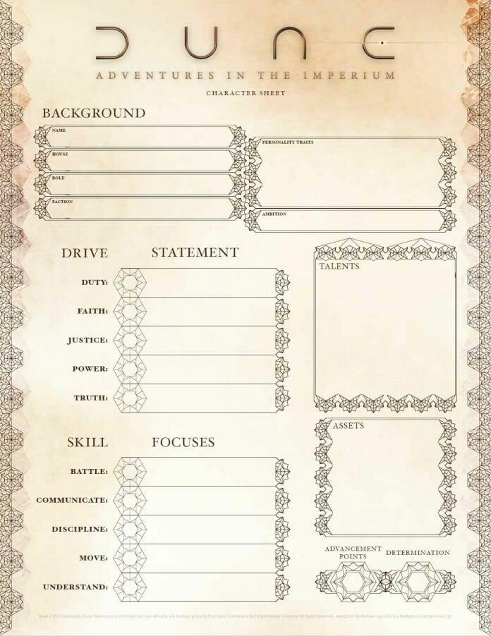 Dune RPG character sheet