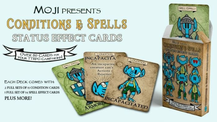 Deck of Moji Condition & Spell Cards for 5e & TTRPGs!