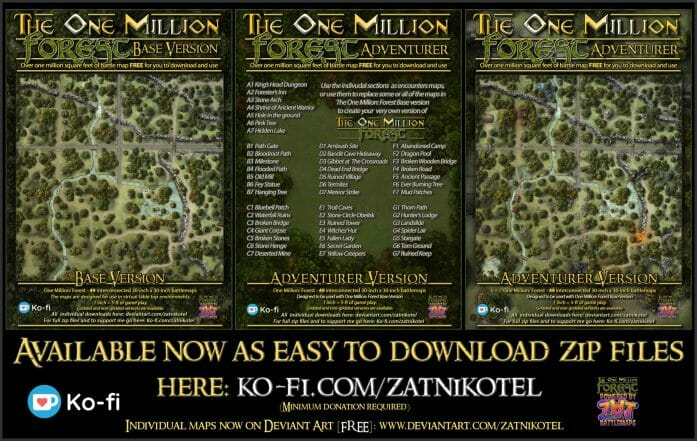 1 million square feet of forest battle maps